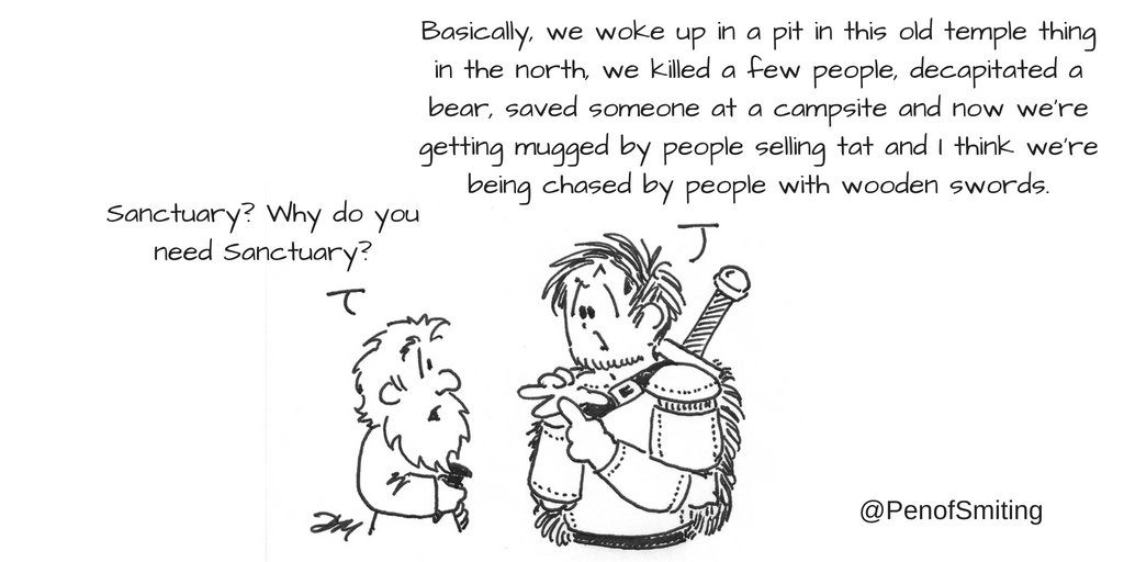 """A scene from the Original series. A line drawing of a short man with a beard asking the other why they need sanctuary. The adventurer responds """"Basically, we woke up in a pit in this old temple thing in the north, we killed a few people, decapitated a bear, saved someone at a campsite and we're getting mugged by people selling tat and I think we're being chased by people with wooden swords"""" artist's signature is at bottom right, @PenOfSmiting"""
