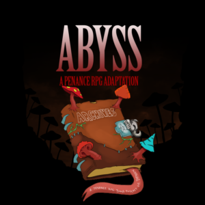 """Abyssal Archives"" logo - a picture of a book labelled ""Archives"", containing the DM notes from the Penance RPG adaptation of ""Out of the Abyss"""
