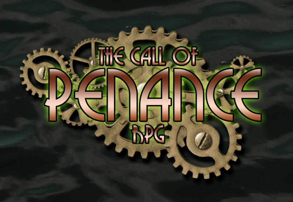 "A dark green background that resembles crumpled fabric. Bronze machine cogs of various sizes  are overlaid with bronze lettering reading ""The Call of Penance RPG"" with green highlights behind the words.  Keywords: rpg, logo, call of cthulhu. call of penance, cthulhu"