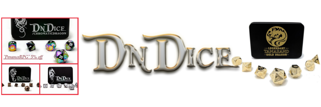DnDice, dice, metal dice, UK metal dice, Penance RPG, discount code, deals, DnDice.co.uk, marketing