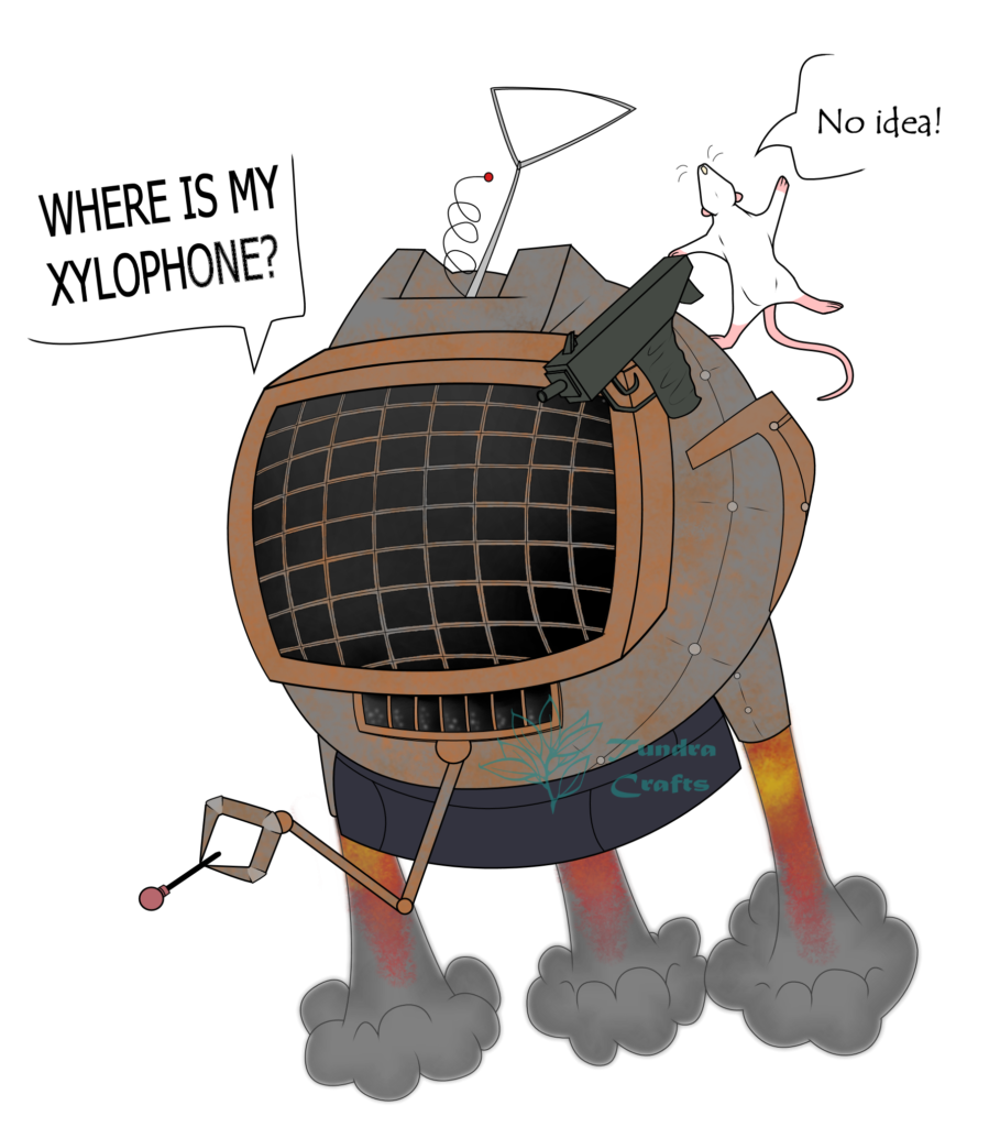 a cartoon flying Roomba (Tam-Tam) with an old fashioned diving helmet on top. There are jets at the bottom to propel it, a tiny grabber arm, a handgun afixed at the top of the 'mask' and a small white rat (Index) behind the gun. The Roomba is asking 'Where is my xylophone?' and the rat replies 'no idea!!'