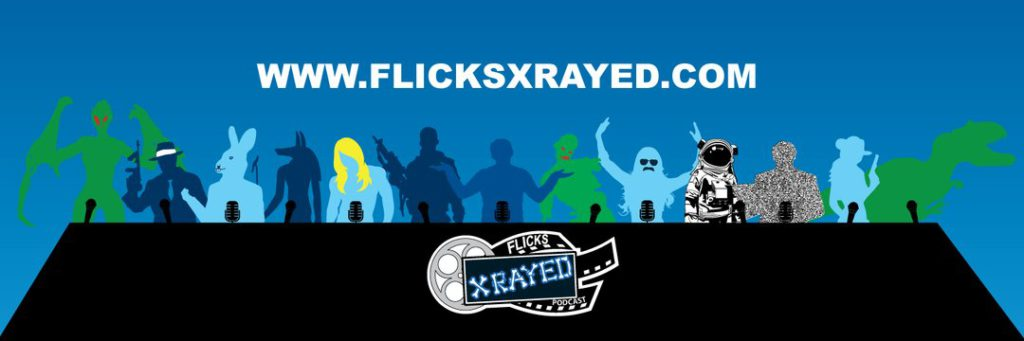 A mid blue background with a row of mics in black silhouette, behind which stands an array of people of different species including human, dinosaur, mothman, rabbit person and zombie. Bottom middle has the Flicks X-Rayed logo of the name overlaying a film reel.  Keyword: Echoes 1