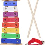 A rainbow coloured mini glockenspiel with beaters and a small wrist strap with 4 bells on it