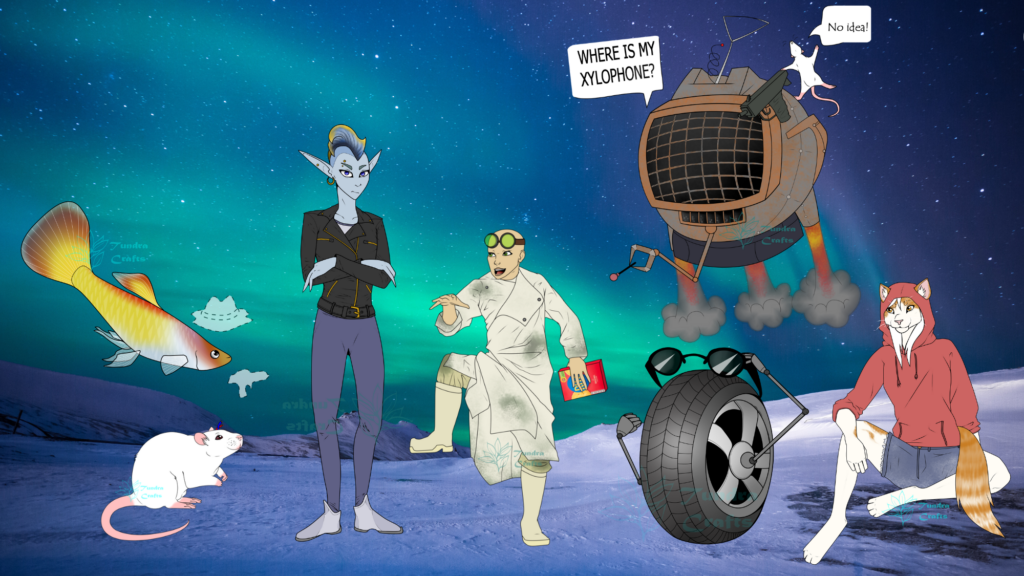 Characters from 2115 in front of a Northern Lights sky. Left to right are: Tex, Index, Irois, Dr Stein, Tam-Tam, A. Tyre & Lottie
