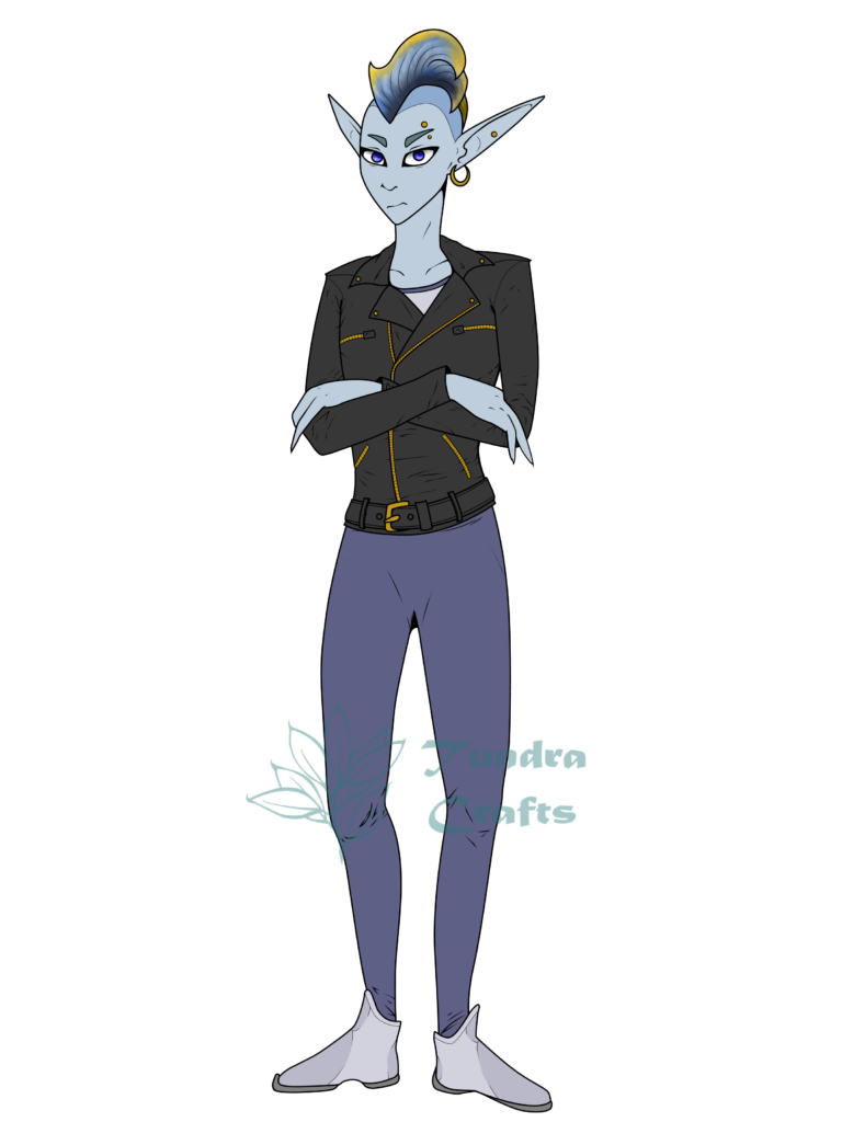 An illustration of a slender figure with blue-grey skin and a yellow edged fin in place of a mohawk. The person is wearing form fitting grey bodysuit and sleek shoes, covered by a black bikers jacket with gold/brass zips.  Several piercings dot their face and long elven ears. Small eyebrows look like they might be fins.