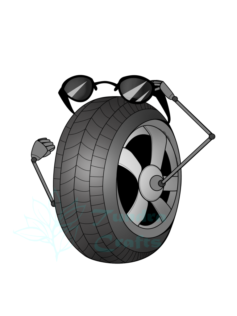 A large tyre in three-quarter profile, with thin metal arms extend from each side of the central axel, one large metal hand holds sunglasses over the top of the tyre