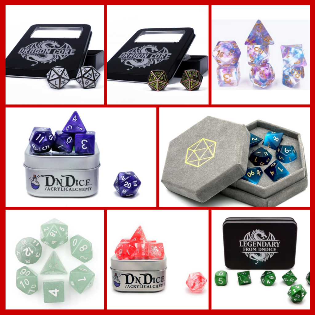 A collage of metal, acrylic, resin and gemstone TTRPG dice. Some show a few of the dice, others show the full set of polyhedral dice L-R: metal dice with inlaid enamel, bronze dice with green glitter enamel inlay, clear dice with blue and purple swirls, acrylic purple swirled dice, a grey box holding blue tiger eye dice, very pale grey acrylic dice with silver glitter, clear resin dice with red swirls and very shiny green metallic dice.