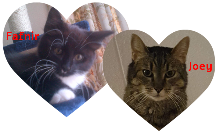 """All Cat Traz 1 mascots - Two overlapping heart shaped photo frames, on the left is a black kitten with white paws labelled """"Fafnir"""". On the right is an adult tabby gazing at the viewer labelled """"Joey"""""""